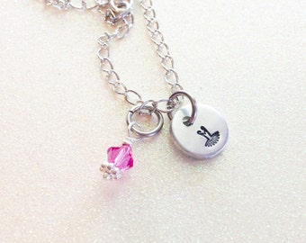Beautiful Ballet / Tutu Itty Bitty Ballerina Hand stamped necklace, custom, affordable and cute birthday gift