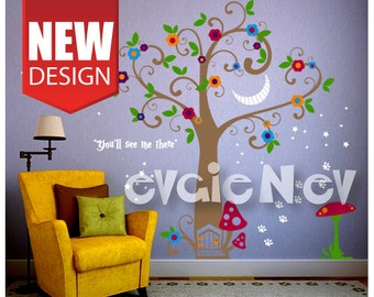 Girls Wall Decals, Fairy Wall Decals, Nursery Wall Decals, Cheshire Smile Alice in Wonderland - PLFTCHC010