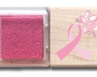 Hampton Art Wood Mounted Rubber Stamp Set Think Pink NEW