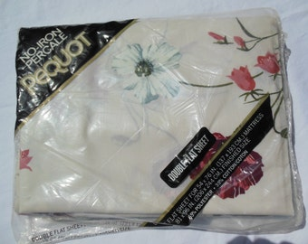 Floral Double Size Flat Sheet, By Pequot, Old Stock, New in Package