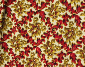 Gorgeous Fleur de Lis Style Barkcloth Drape Pair