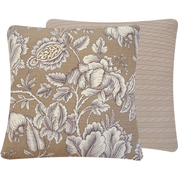 Tan Floral Reversible Throw Pillow Cover by ChloeandOliveDotCom
