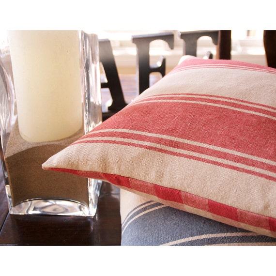 Ralph Lauren Throw Pillow Covers : Ralph Lauren Linen Throw Pillow, Red Striped Pillow Cover, Gingham Print, Cottage Country Pillow ...