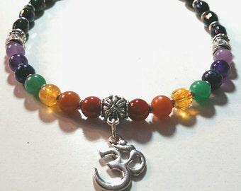 Chakra Onyx Necklace, Ohm Pendant, Reiki Charged, Chakra Energy Necklace, Yoga Jewelry, 7 Chakra Stones, Chakra Energy Jewelry, LGBT
