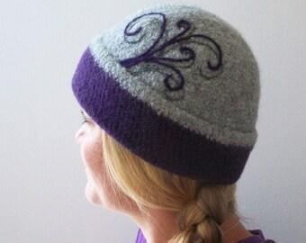 Wool Felted Hat - Beanie - Light Gray / Purple / Swirl / Folded Beanie - READY TO SHIP