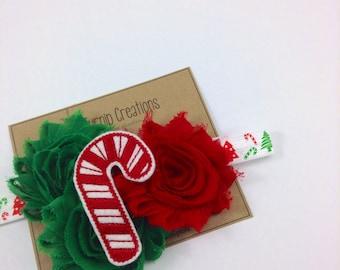 Christmas Headband Candy Cane Headband Red Green Shabby Flower Headband Holidays Feltie Photo Prop