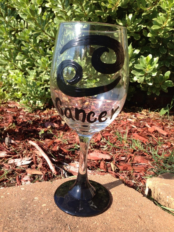 Cancer astrological sign horoscope sign crab july birthday Zodiac Sign Custom Painted Wine Glass