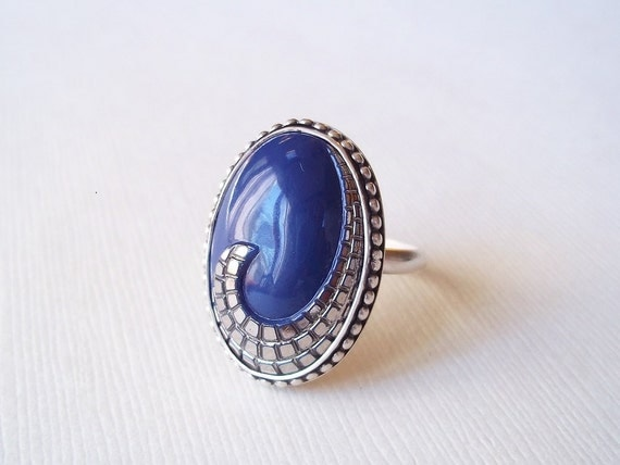 Silver Cocktail Ring. Blue Glass and Sterling Silver Ring. Repurposed Button Jewelry