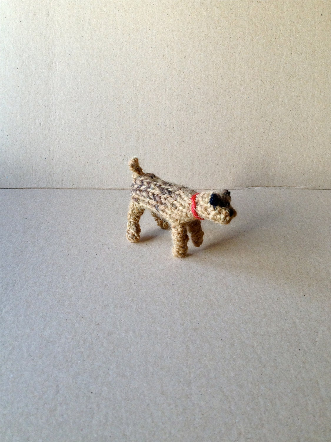 Knitting Pattern For Border Terrier : Border Terrier with collar knitted in wool