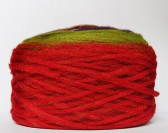 KAUNI Chunky Wool Pencil Roving / Pre-Yarn, for Knitting, Spinning or Felting Fiber, Green, Purple, Orange, Red