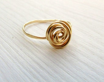 Gold rose ring. Dainty everyday ring. Little finger ring. Midi finger ring. Sweet 16 gift.