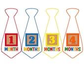Monthly Boy Tie Stickers, Monthly Bodysuit Stickers, Monthly Stickers, Baby Month Stickers, Monthly Milestone Stickers, Toy Blocks (BF051)