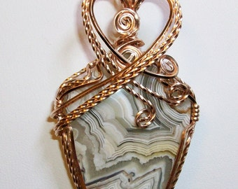 Mexican Crazy Lace Agate Pendant wrapped in 14kt Rose Gold Filled Wire.