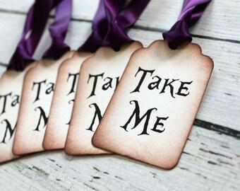 Alice in Wonderland Vintage Inspired Tags - Take Me - Set of 5