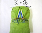 Lime Green Personalized Hooded Towel Accented With A Classy Stripe Ribbon/Century Font/Gift:Christmas,Wedding Party,Beach Pool,Fun,Unique