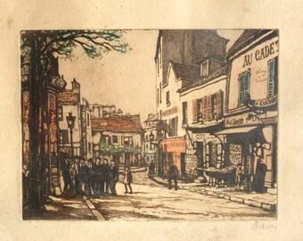 Signed 1920 Paris Street Scene -  Wood Framed Print