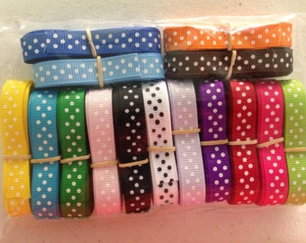 "3/8"" x 30 yard Polk A Dot Grosgrain Assortment 2 yards of each 15 colors"