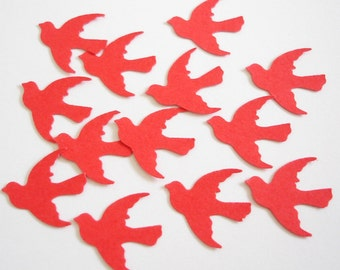 100 Valentine's Red Dove Bird die cut punch confetti embellishments  - No955