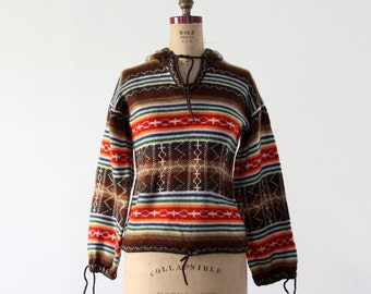 FREE SHIP  1970s hooded hippie sweater, vintage southwestern knit pullover