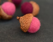 Felted Acorns pink purple nature woodland home decor rustic ecofriendly