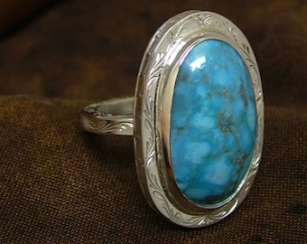 Turquoise and sterling engraved Ring