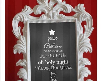 Chalkboard Sign Christmas Sign Christmas Word Art DIGITAL Printable Signs Instant Download 8.5x11 JPEG