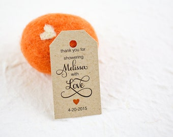 Shower Favor Tags, Thank You for Showering With Love Tags, Personalized Tags, Custom Tags, Bridal Shower, Baby Shower - Set of 25 (SMGT-SMP)