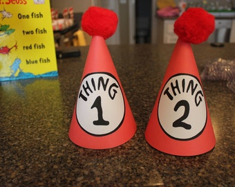 Thing 1 & Thing 2 Birthday Birthday Hat- Custom Printable