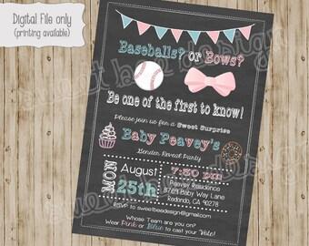 Baseballs or Bows Chalkboard Gender Reveal Party, pink, blue baby shower invitation, digital, printable, bow, cupcake, baby shower invite