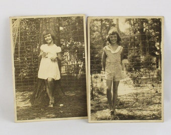 Two Vintage 1950s Black and White Photos Little Girls