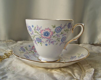 Vintage Teacup and Saucer Blue Blossoms Avon Teacup 1974 Cup of Tea England Gift for Mom