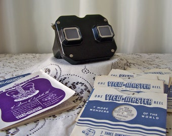 Vintage View Master Sawyer's Bakelite View Master 1940s Reels Included The Coronation of Queen Elizabeth II 3D Pictures Full Color