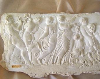 Vintage Greek Wall Plaque Greek Goddess Mythological Figures Wall Sculpture Nude Art Pagan Wall Plaque Vintage 1980s