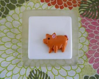 Pink Pig Brooch