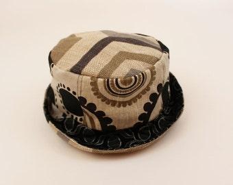 Hexagon Tile Linen Hat with Groundworks and Studio Bon Fabrics