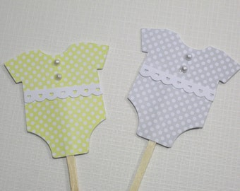 10 Cupcake Toppers -  Food Picks - Grey Yellow Shower - Polka Dot - Baby Body Suit Picks -  Cupcake Picks - Grey Yellow Baby Shower Favors