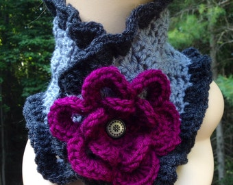 Grey and Plum Ruffle Flower Scarf