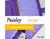 SIZE: A5 SIZE  (Regular Set / Top Tabs / Side Tabs)  Paisley Personalised Dividers for Filofax Organizer Planner Agenda