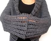 Grey  Flower Fashion Oversized Shrug   Mixed Wool Sweater Woman Hand Crocheted Long Sleaves  Shrug Bolero NEW