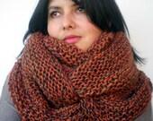 Autumn Colors Circle   Scarf Hand Knit  Scarf  Soft   Alpaca Woman/Men Circle  Scarf NEW