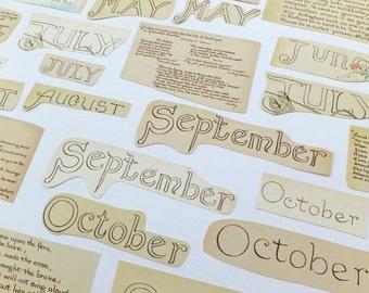 Months Paper Ephemera Pack, Words scrap pack, journal pack, words, Months themed pack, paper ephemera lot, paper scraps, craft supplies