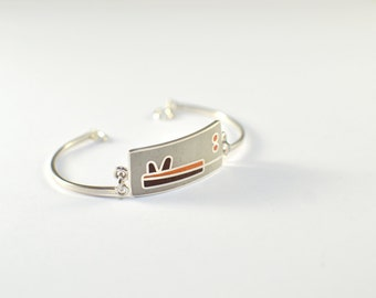 Sterling Silver Bracelet, Modern, Contemporary, White, Brown, Orange, Colorful