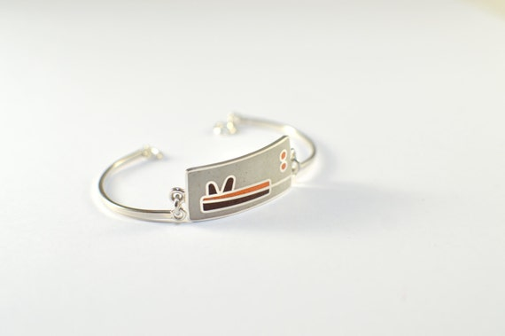 Sterling Silver Bracelet, Modern, Contemporary, White, Brown, Orange, Colorful