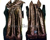 Beautiful Chocolate Brown Crushed Velvet Scarf By Maya Soft and Warm