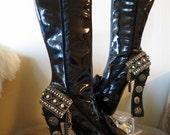 High Heel Platform Victorian/Punk, Gothic Women Boots Black size 7 1/2-8...A SpikesByG Design