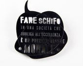 ESERVED FOR NUVOLEVENTO-lasercut plexiglass unisex brooch made in Italy-black