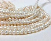 6 to 8 mm Large Hole Freshwater Pearl Potato Beads - White 2.1 mm hole Full strand (G2821Q5-BHB)
