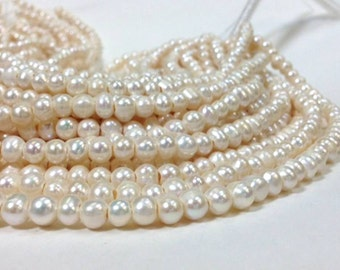 6 to 8 mm Large Hole Freshwater Pearl Potato Beads - White 1.6 mm hole Full strand (G2821R1395Q5)