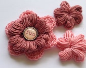 "Crochet Flowers - Dark Rose and Pink with ""Fun"" Scrapbook Brad"