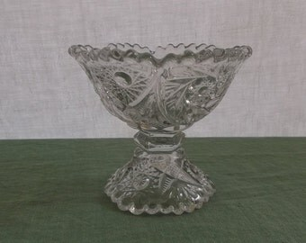Vintage Pressed Glass Pedestal Bowl Star and Swirl